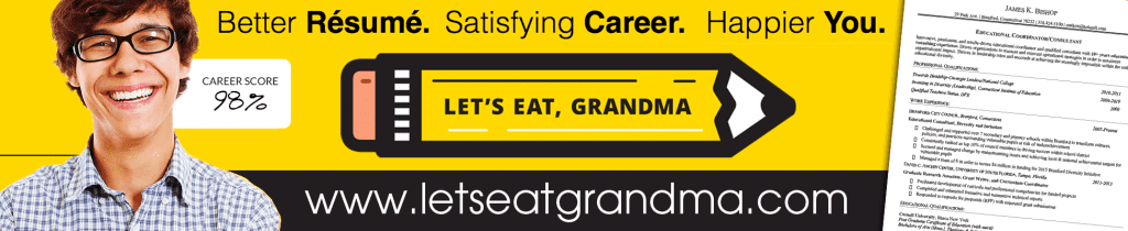A banner advertising Let's Eat, Grandma's resume services. References to contact!