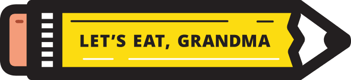 The official pencil logo of Let's Eat, Grandma resume services.