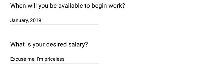 What is your desired salary?
