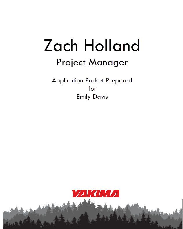 An example of a cover page, one of the essential elements of a job interview portfolio.