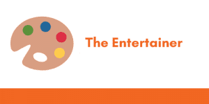 """A graphic with a paint pallete icon and the title """"The Entertainer"""",  illustrating 1 of 6 cover letter tone profiles."""