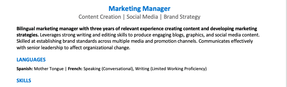 A screenshot of the top third of a resume featuring a