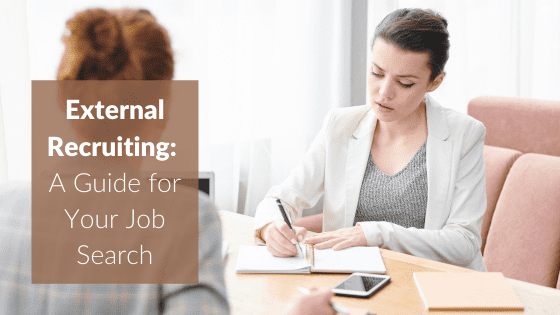 """A title graphic featuring a photo of two professional women talking to each other and examining documents, overlaid with an alternate version of the article's title: """"What is a Headhunter? How to Partner with an External Recruiter to Land a Job"""""""